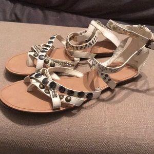 Shoes - Cream Mixed Media Gladiator Sandals